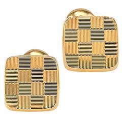 Tiffany & Co. Gold Checkerboard Cufflinks