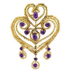 Spritzer & Fuhrmann Amethyst Gold Heart-Shaped Brooch Pendant