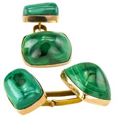 Art Deco Malachite Gold Cuff Links