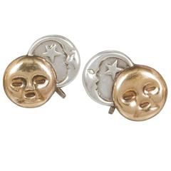 William Spratling Sterling Silver Sun and Moon Earrings
