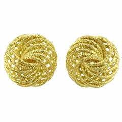 Buccellati Large Oro Gold Woven Knot Earrings