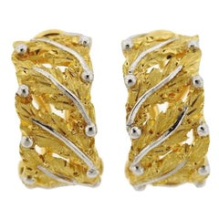 Buccellati Gold Leaf Motif Hoop Earrings