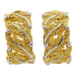 Buccellati Gold Leaf Motif Hoop Earrings