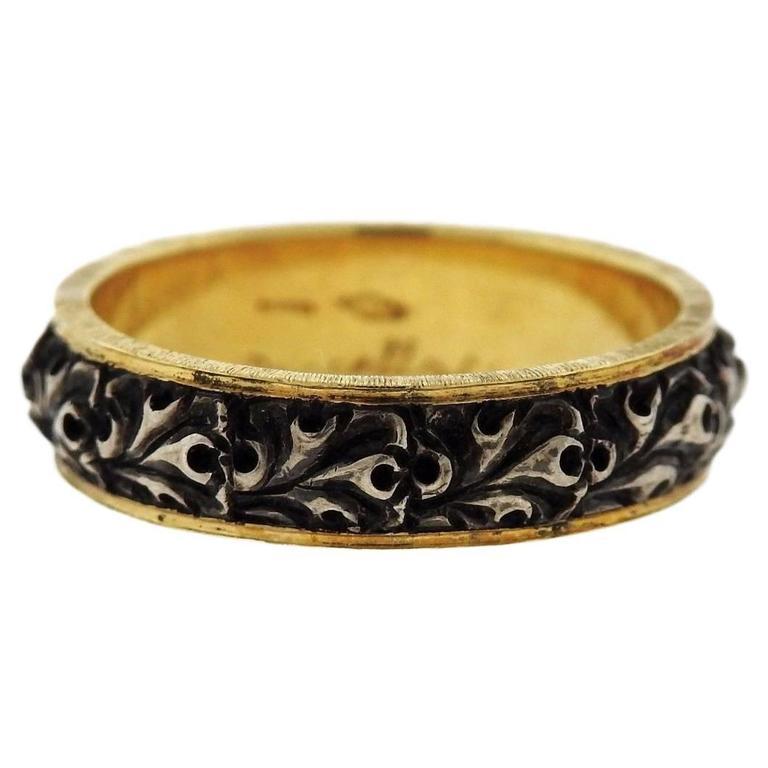 Buccellati Gold Sterling Silver Wedding Band Ring