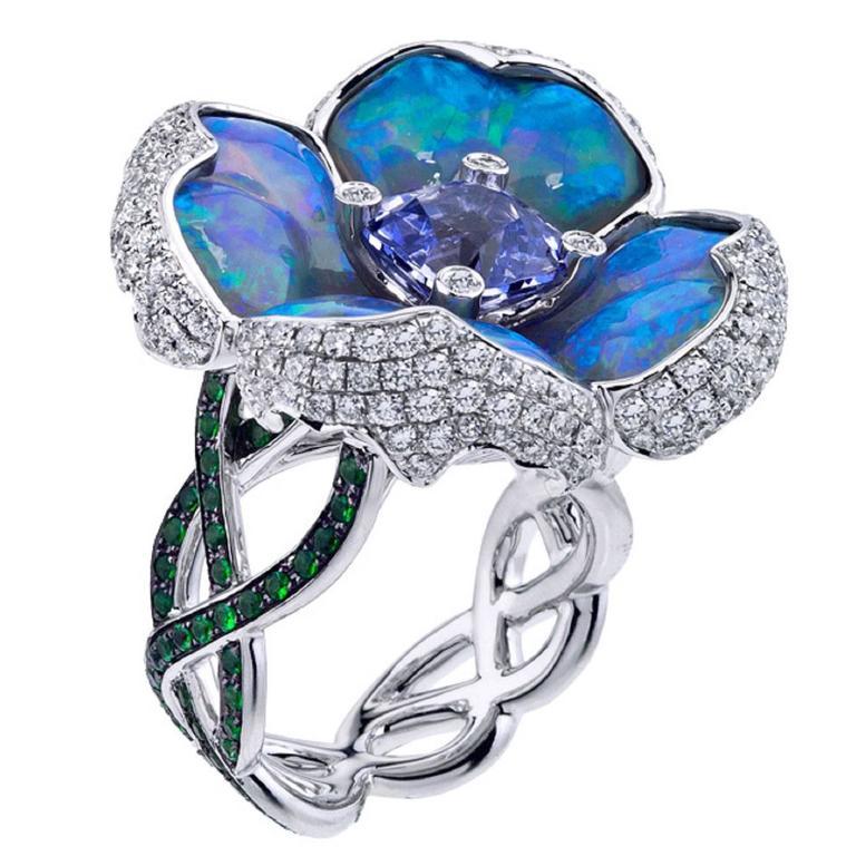 Opal Spinel Tsavorite Garnet Diamond Gold Flower Ring