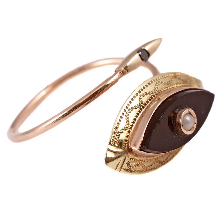 Black Onyx Seed Pearl Ring in 10 Karat Gold at 1stdibs