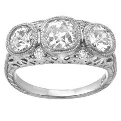 Art Deco European Cut Diamond Platinum Three-Stone Ring