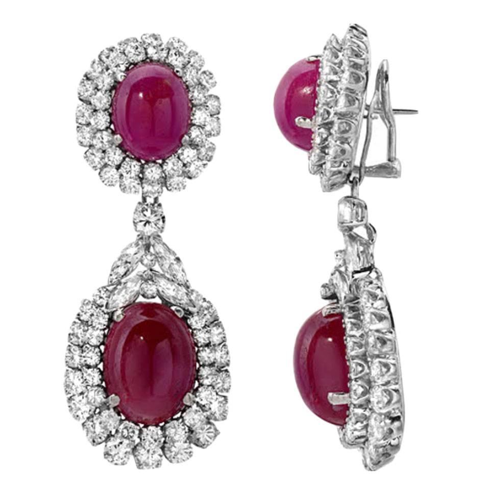 Cabochon Ruby Diamond Gold Detachable Drop Earrings