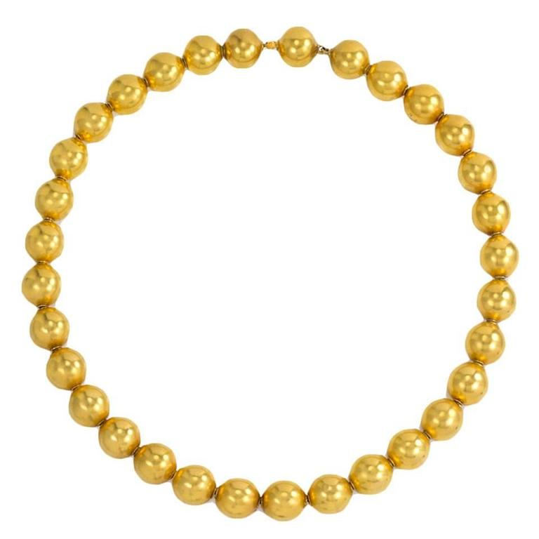 19th Century Gold Bead Necklace at 1stdibs