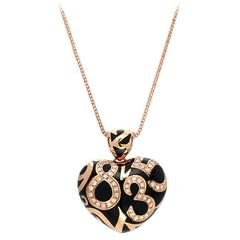 Franck Muller Crazy Hours Diamond Black Enamel Gold Heart Pendant
