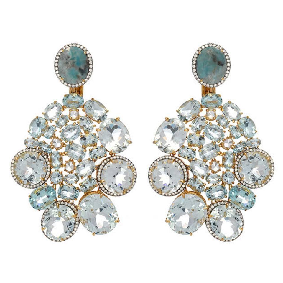 Aquamarine Diamond Gold Drop Earrings