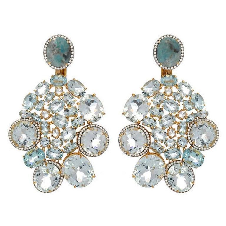 Aquamarine Diamond Gold Drop Earrings For Sale