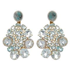 Sea Blue Aquamarine Diamond Gold Earrings