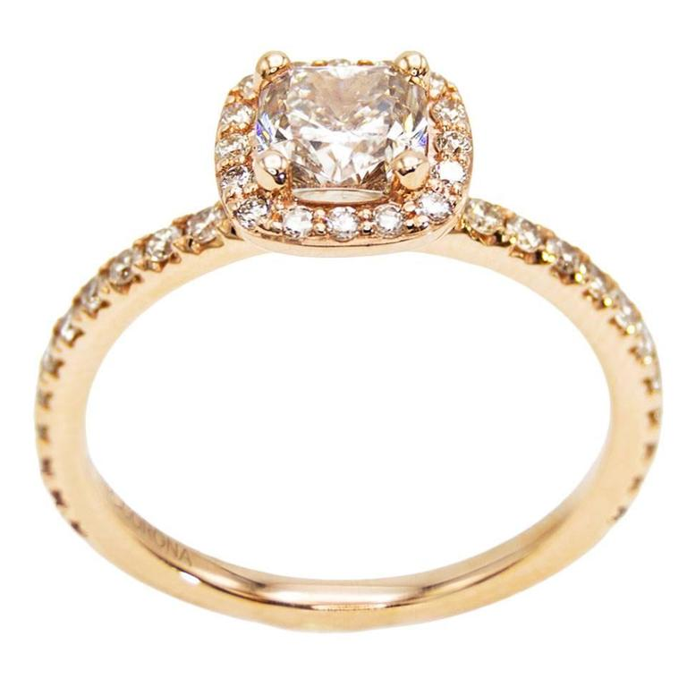 Rose Gold Cushion Canadian Champagne Diamond Engagement Ring with