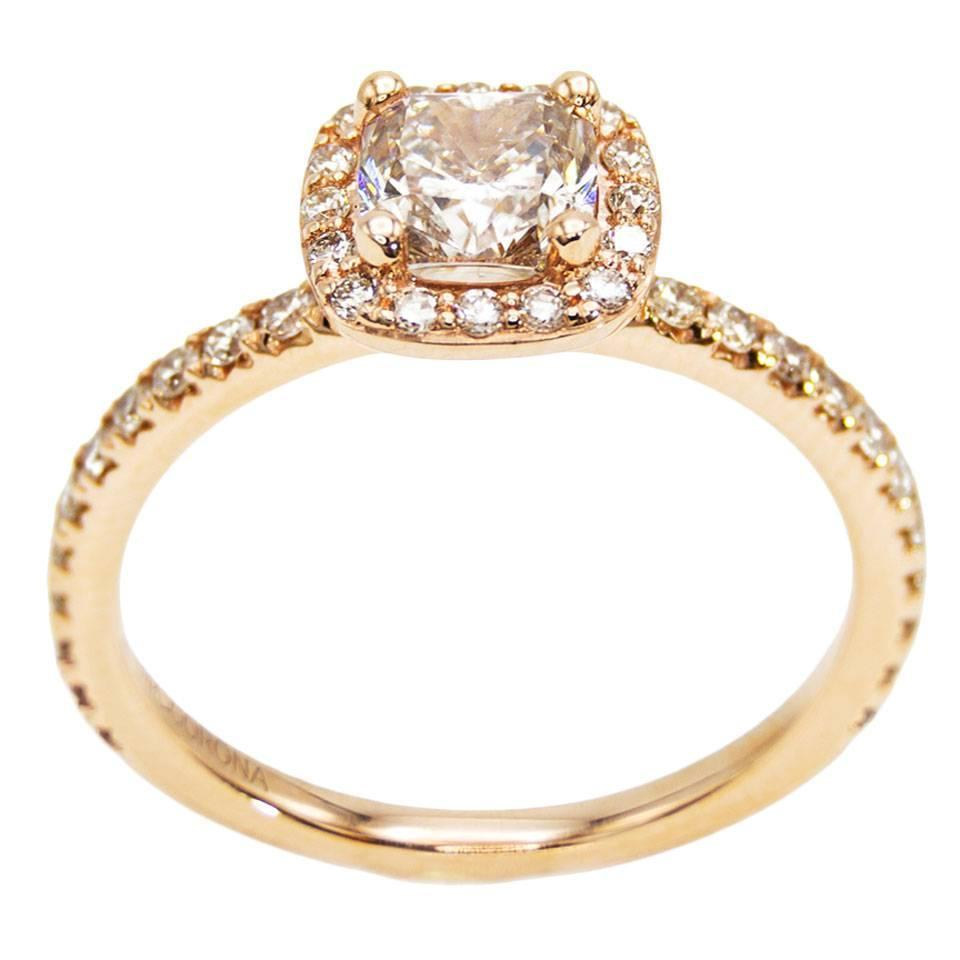 rose gold cushion canadian champagne diamond engagement
