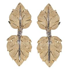 Buccellati Bicolored Gold Double Leaf Earrings