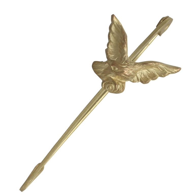 Antique French 1890s 18k Yellow Gold 'Eagle' Pin Brooch 1