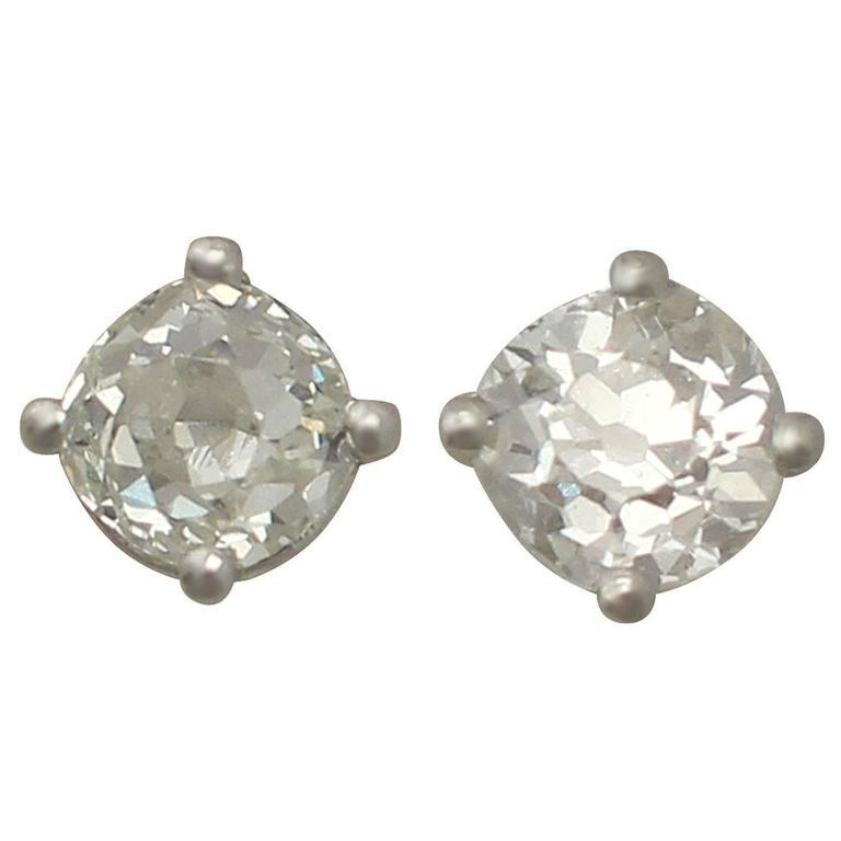 0.56 Carat Diamond and Platinum Stud Earrings