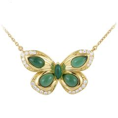 Van Cleef & Arpels Yellow Gold Diamond and Jade Butterfly Pendant Necklace