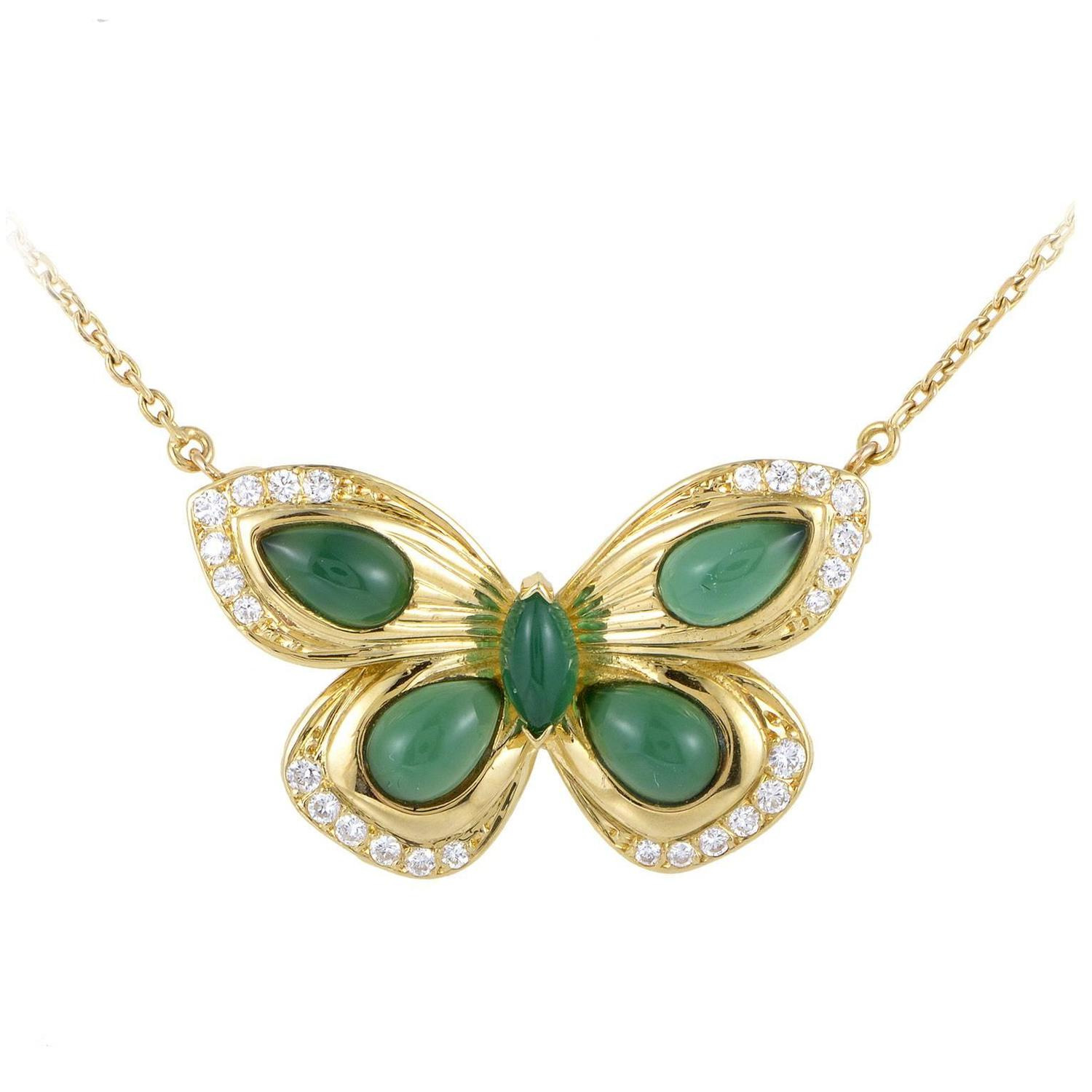 Van cleef and arpels yellow gold diamond and jade butterfly pendant van cleef and arpels yellow gold diamond and jade butterfly pendant necklace at 1stdibs aloadofball Image collections