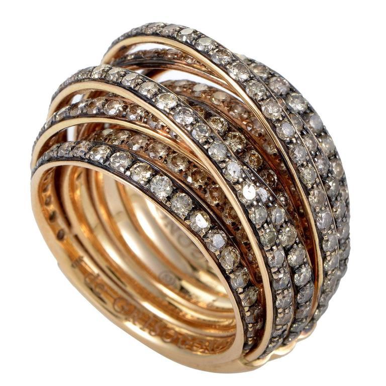 de Grisogono Allegra Rose Gold Brown Diamond Band Ring at ...