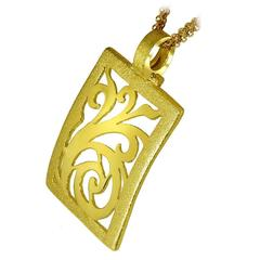 Alex Soldier Yellow Gold Contrast Texture Pendant Necklace Handmade in NYC Ltd E