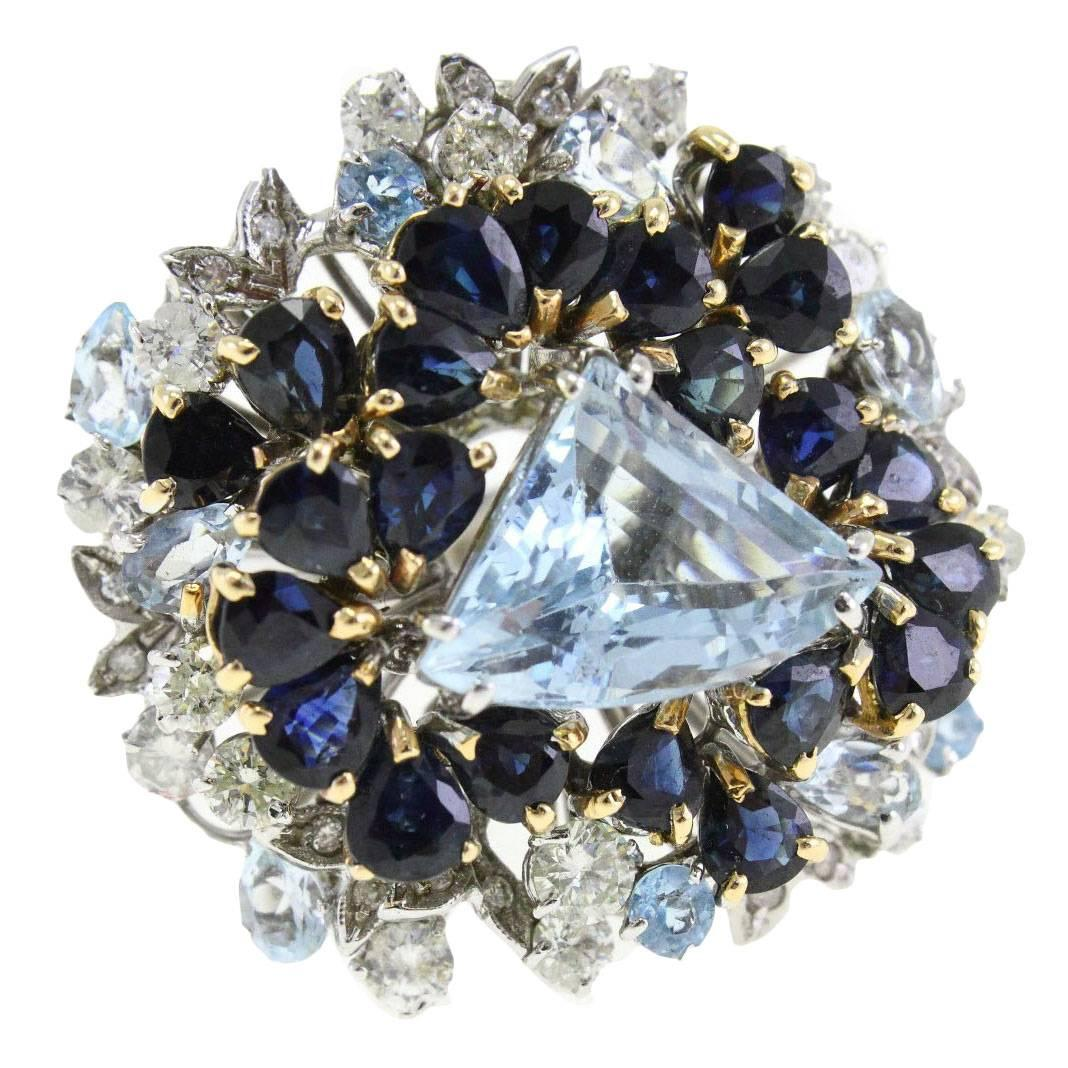 Aquamarine Diamond Two Color Gold Ring