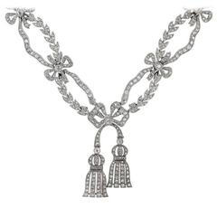 Antique Edwardian Belle Epoque Garland Style Diamond Platinum Ribbon Necklace