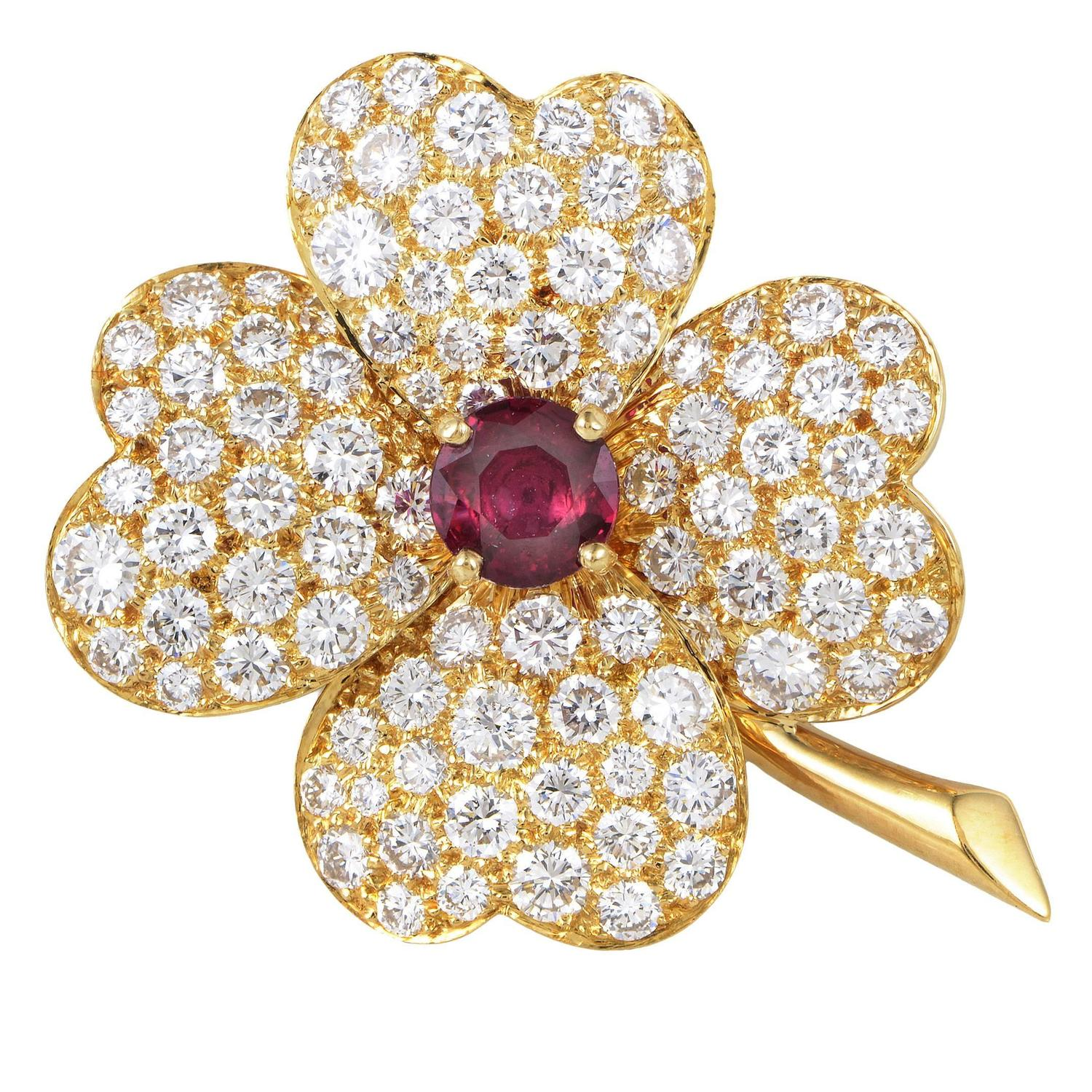 Van cleef amp arpels vca 18k yellow gold ruby cabochon amp diamond - Van Cleef Amp Arpels Cosmos Ruby Diamond Gold Pendant Brooch