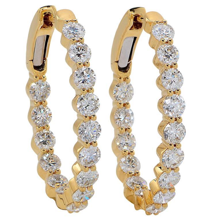 3.90 Carat Yellow Gold Diamond Hoop Earrings
