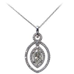 1.65 Carats Diamonds Gold Pendant Necklace