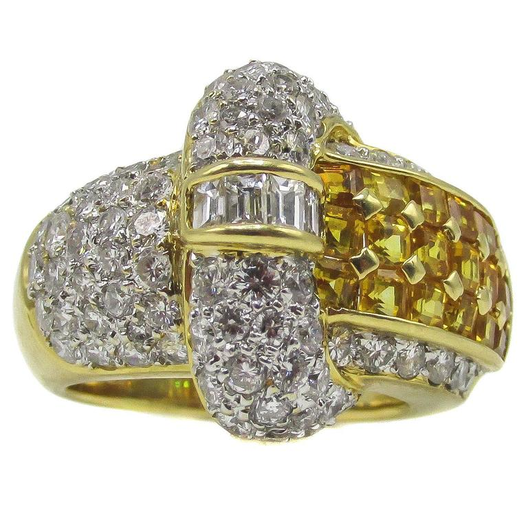 Yellow Sapphire Diamond Gold Ring For Sale at 1stdibs