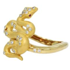 Carrera y Carrera Ruby Diamond Gold Serpent Snake Ring