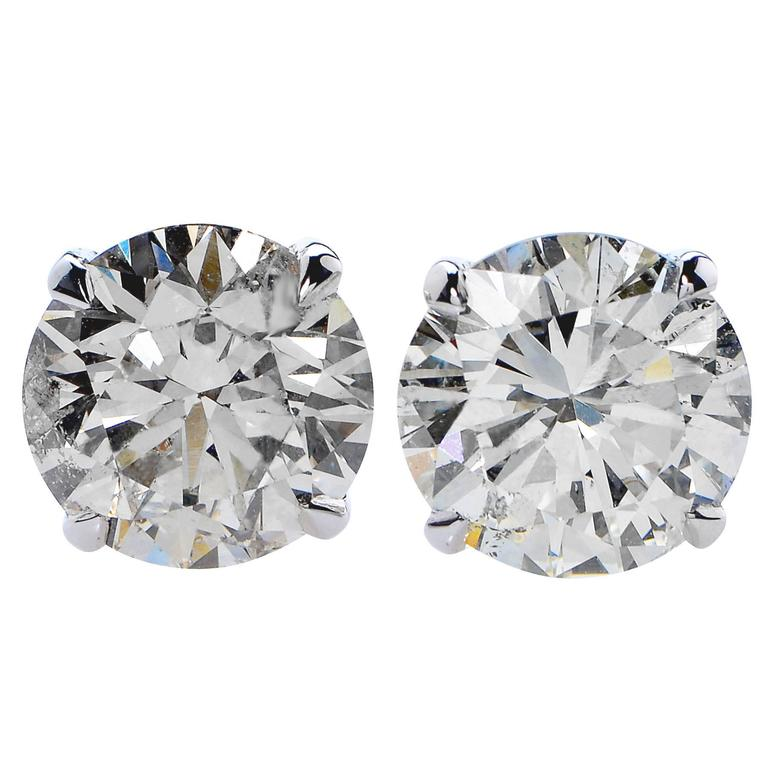 10.55 Carats Diamonds Solitaire Stud Earrings