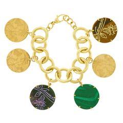 """Gucci """"Flora St. Tropez"""" Gold Charm Bracelet"""