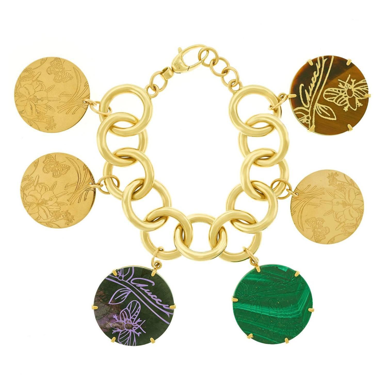 "Gucci ""Flora St Tropez"" Gold Charm Bracelet at 1stdibs"