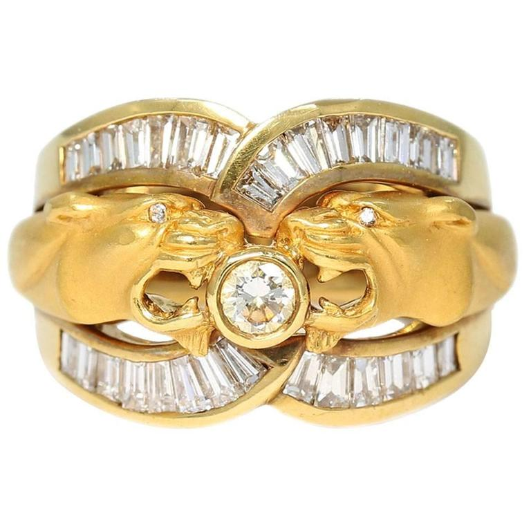 Carrera y Carrera Double Head Panther Yellow Gold Ring with Diamonds