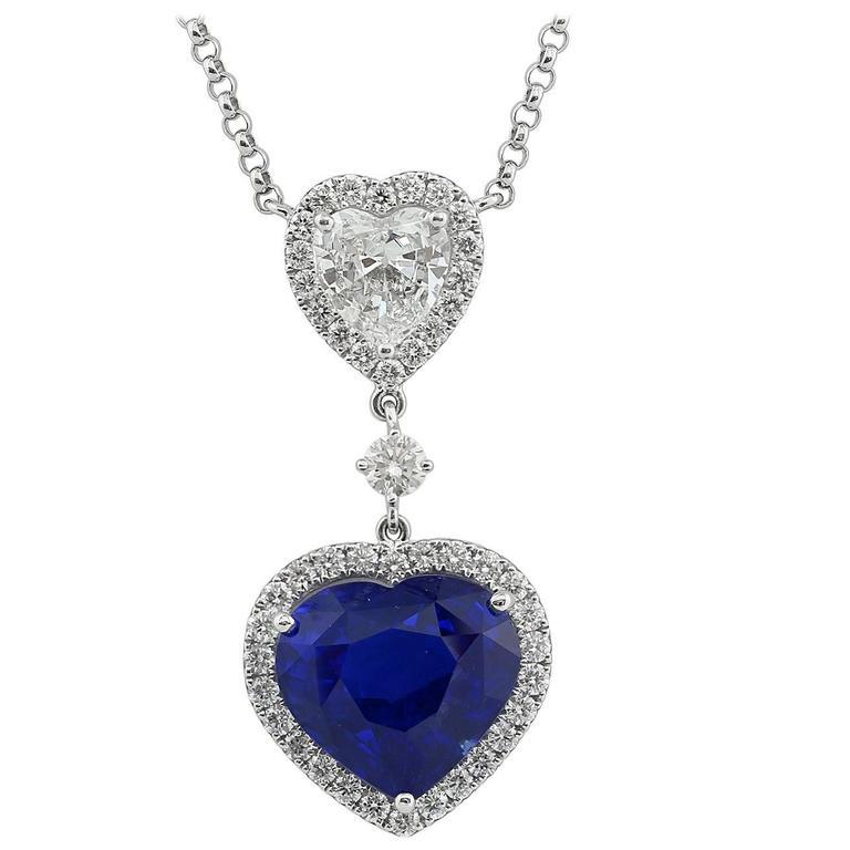 GIA Certified 10.03 carat Cornflower Blue Sapphire 1.05 Diamond Pendant