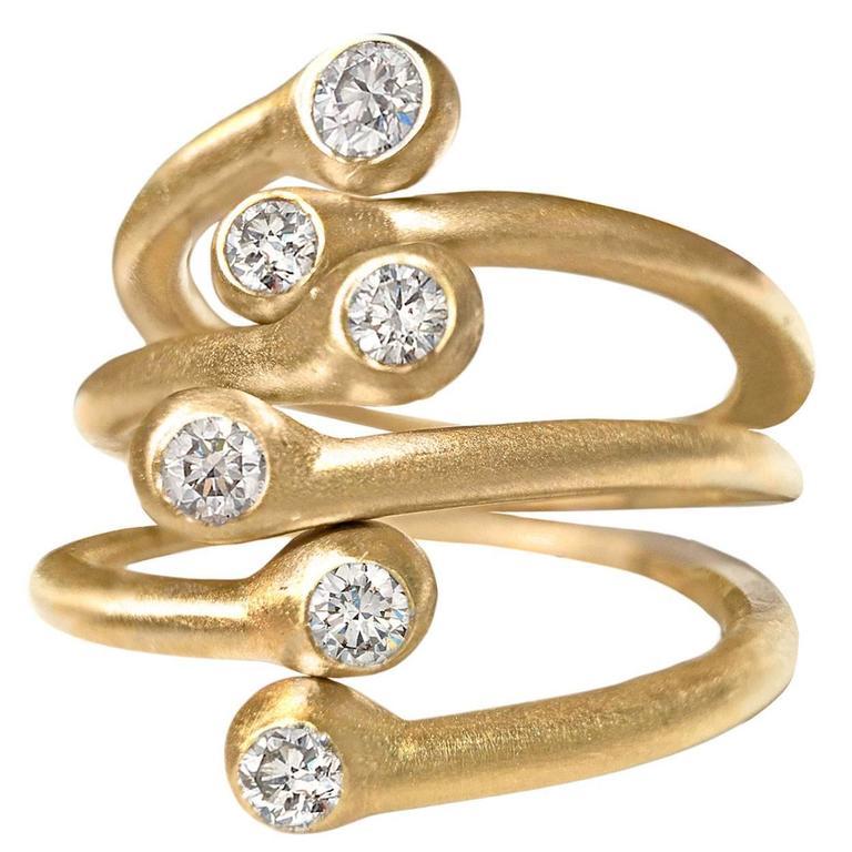 Three Shimmering White Diamond Matte Gold Open Stacking Band Rings