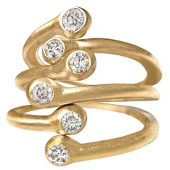Three Shimmering White Diamond Matte Gold Open Stacking Band Rings
