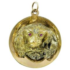 Cocker Spaniel Gold Charm in High Relief