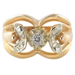 French 1960s Rose Gold White Gold Diamond Ring