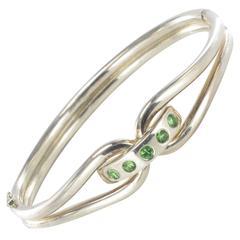 New French Silver and Tsavorite Garnet Bangle Bracelet