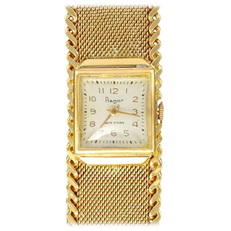 Flamor Ladies Yellow Gold Manual Wind Wristwatch For Sale