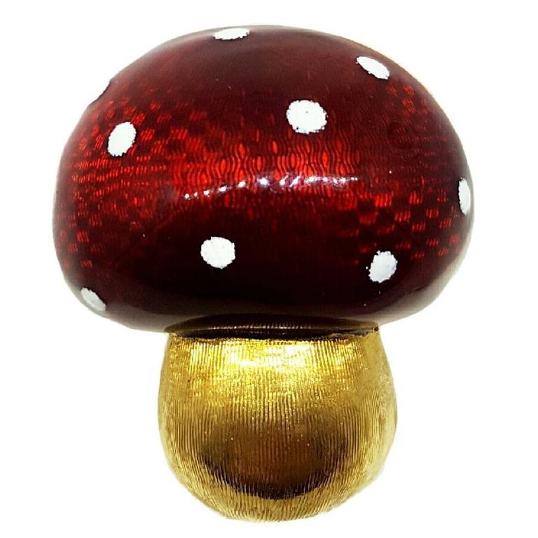 Enamel Gold Mushroom Brooch