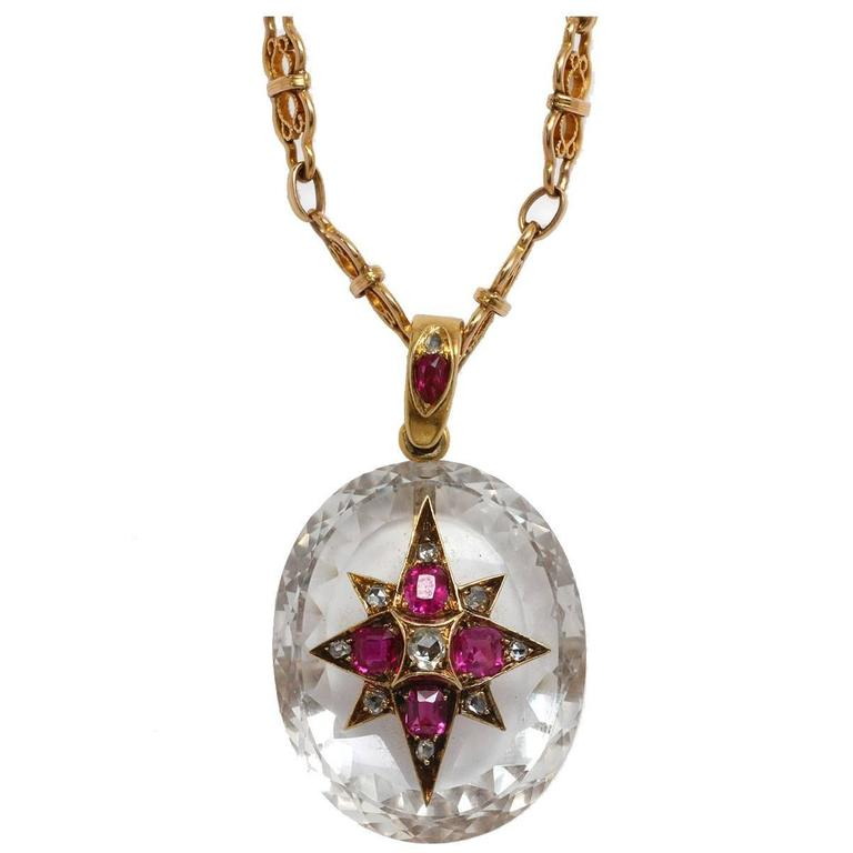 Striking Victorian Rock Crystal Ruby Diamond Gold Necklace 1