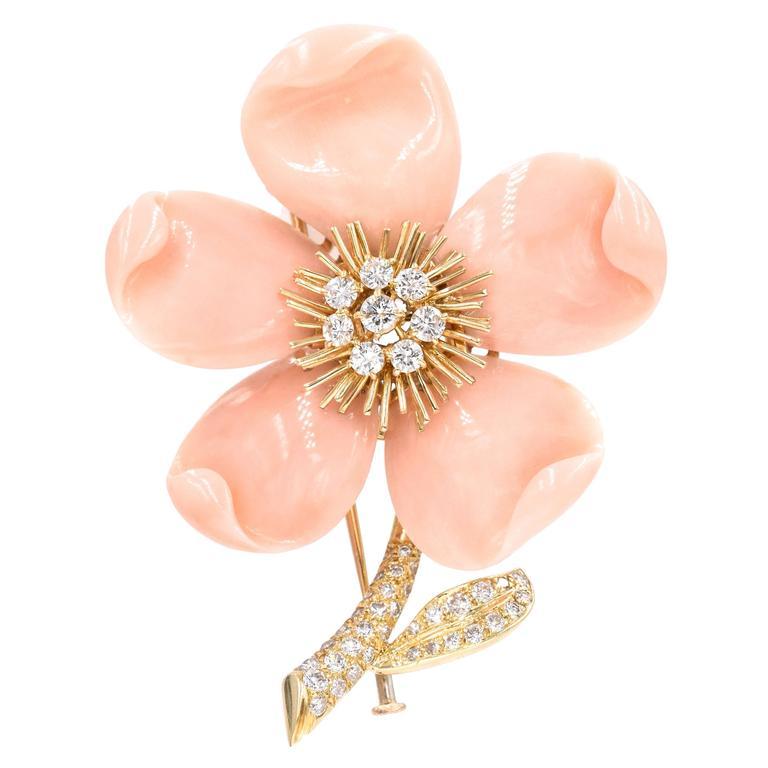 "Van Cleef & Arpels Paris ""Clematis"" Coral Diamond Gold Brooch For Sale"
