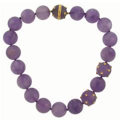 Verdura Amethyst Bead Gold Strand Necklace