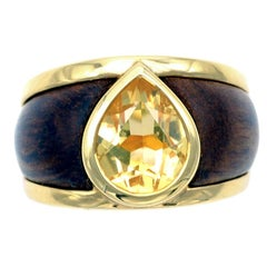 Citrine, Wood and Yellow Gold Modern Band Ring