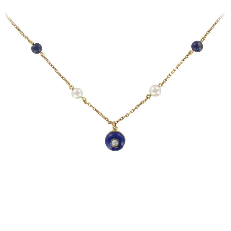 French 19th Century Pearls, Lapis Lazuli, Enamel and Gold Necklace